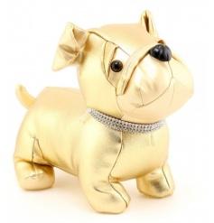 A glamorous gold dog doorstop with a diamante bling collar.