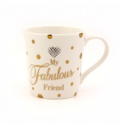 A glamorous mug with 'my fabulous friend' slogan and heart motif.