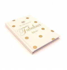 My little book of fabulous ideas notebook with heart gem and gold polka dot design.