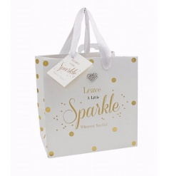 Leave a little sparkle wherever you go! A stylish gift bag with a heart shaped gem and matching gift tag.