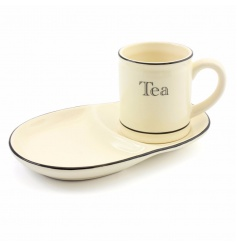 Enjoy tea and toast with this fantastic vintage kitchen set with mug and snack tray.