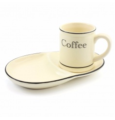 Enjoy coffee and cake with this fantastic vintage kitchen set with mug and snack tray.