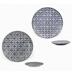 A set of 2 blue and white mosaic design plates. Both a practical and decorative item.