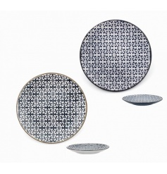 A set of 2 blue and white mosaic design plates. Both a practical and decorative item