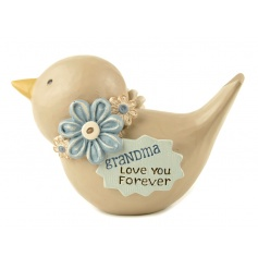 A beautiful bird ornament with floral wreath and Grandma quote