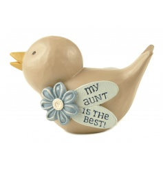 A gorgeous bird decoration with floral detail and aunt slogan. A great gift item for many occasions.