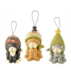 A set of 3 adorable cat hangers with knitted Christmas hats.