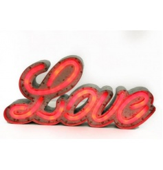 A retro style red LED love sign. A unique light and decorative accessory for the home.