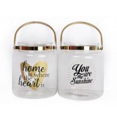 An assortment of 2 glamorous gold slogan lanterns.