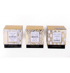 An assortment of 3 glamorous gold slogan candles in a mix of scented fragrances.