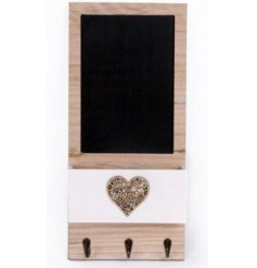 Quirky wooden framed black board with fitted hooks and delicate decorative heart