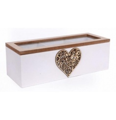 Keep your favourite teas together with this shabby chic style storage box with a decorative heart pattern.