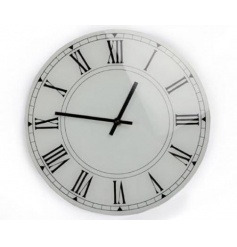 A contemporary glass clock in white making a stylish addition to any home.