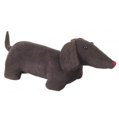 Adorable brown fabric sausage dog doorstop, finished with a cute little red nose