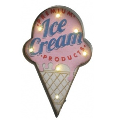 Funky ice cream shaped metal sign with fitted LED lighting around the edges