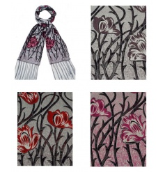 An assortment of 4 beautiful tulip design scarves.