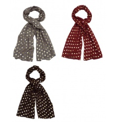 A mix of 3 pretty scarves each with a gold heart pattern. Fashionable gifts for many occasions.