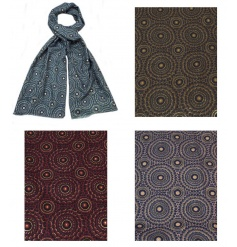 An assortment of 4 contemporary patterned scarves in warming seasonal colours.