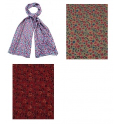 An assortment of 3 pretty ditsy rose scarves in rich seasonal colours. A great gift item and fashion accessory.