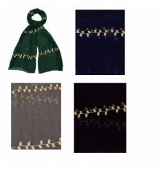 A mix of 4 richly coloured scarves with gold embroidery. Stylish fashion accessories which make beautiful gifts