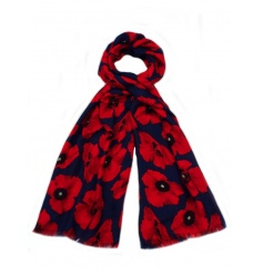 A bold and beautiful navy and red poppy scarf. A great seasonal accessory.