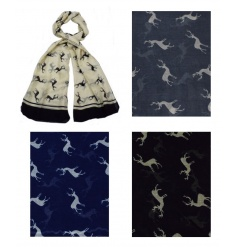 Stay on trend this season with this assortment of scarves with stag design.