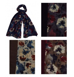A mix of 4 richly coloured autumn flower scarves. On trend gift items for the season.