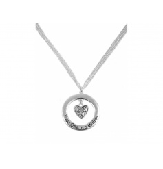 A lovely slogan necklace with a hanging heart charm.