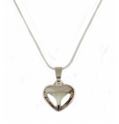 A classic silver heart necklace with a weighted charm. A beautiful gift item for many occasions.