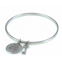 A beautiful silver bangle with Key To My Heart charm and diamante key.