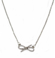 A stylish bow necklace with diamante details. A lovely gift for many occasions.