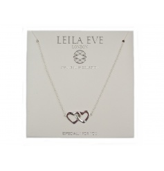 Especially for you. A beautiful sterling silver double interlocking heart necklace by Leila Eve.