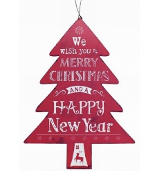 A rustic style metal Christmas tree shape sign with popular slogan.
