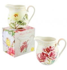 An assortment of 2 pretty china jugs with a floral design and matching gift box.