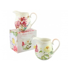 An assortment of 2 pretty floral jugs with matching gift boxes.