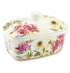 A pretty floral design butter dish with gift box.