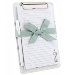 A stylish memo pad with pen set upon a practical clipboard.