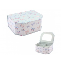 A pretty jewellery box with mirror in the popular butterfly paradise design.