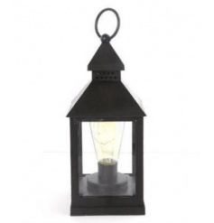 A classic black lantern decoration with battery powered lights. A stylish home accessory.
