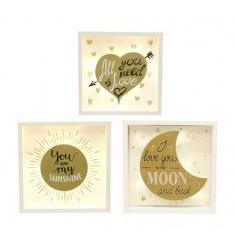 An assortment of gold signs in popular Sunshine, Love and Moon designs.