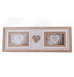 A shabby chic twin photo frame in white and natural colours. Complete with a laser cut heart motif.
