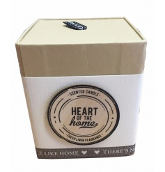 An attractive scented candle in pot with ribbon banner. From the chic Heart Of Home range.