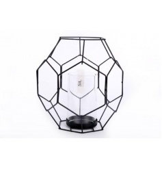 A contemporary style black geometric candle holder. A stylish home accessory