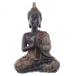 An assortment of 2 thai sitting buddha ornaments with a rich gold and aqua finish.