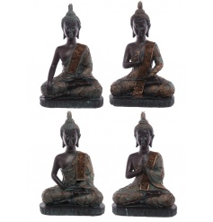 An assortment of 4 sitting buddha figures in rich gold and turquoise colours. A stylish home accessory.