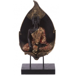 A stylish black and copper gold sitting buddha figure with leaf. A luxurious home accessory.