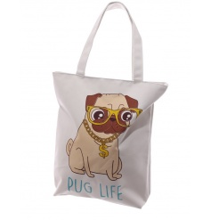 A fine quality pug life shopper with zip.