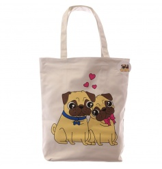 A pug love cotton bag with zip. A quirky and stylish shopper.