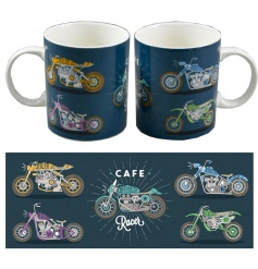 A contemporary style motorbike design mug with matching gift box. A great gift idea!