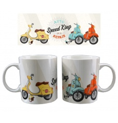 A contemporary design scooter mug by Jack Evans with matching gift box.